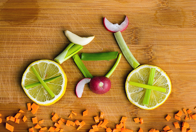 Bicycle image made from fruit
