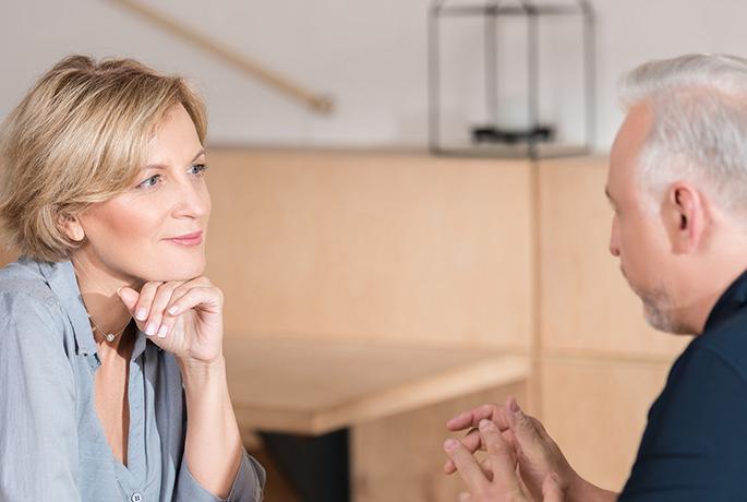 RU OK? Older couple sat talking