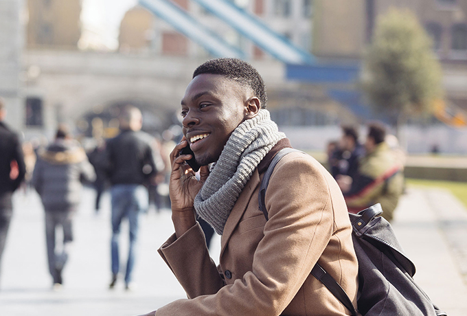 Man sat receiving phone counselling