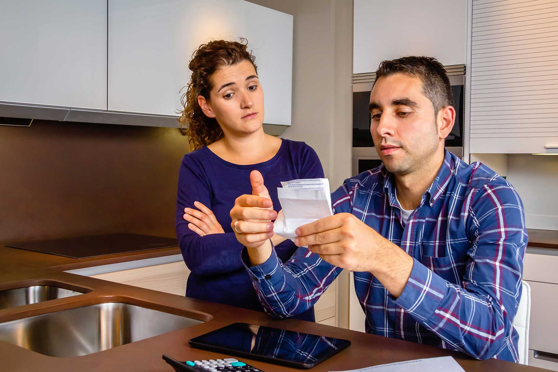 Couple worrying with financial stress